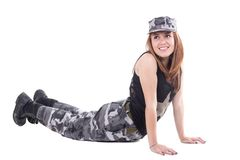 Happy young military patriotic proud girl Stock Image