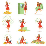 Happy young millionaire woman in a red dress enjoying her money and wealth, set of colorful detailed vector. Illustrations isolated on white background royalty free illustration