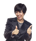 Happy Young Mixed Race Woman With Thumbs Up on White Stock Photos