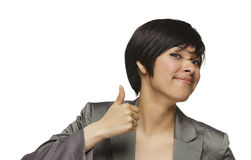 Happy Young Mixed Race Woman With Thumbs Up Stock Images