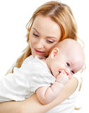 Happy young mother and baby Stock Photos