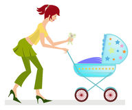 Happy young mother with baby carriage. Illustration of happy young mother with her baby in the baby carriage Stock Image