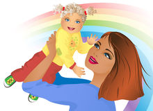 A happy young mother with a baby Stock Photos