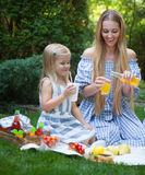 Happy young mother and daughter having picnic Stock Photos