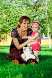 Happy young mother with daughter resting royalty free stock photo