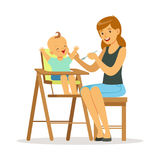Happy young mother feeding her baby in highchair, colorful vector Illustration Stock Image