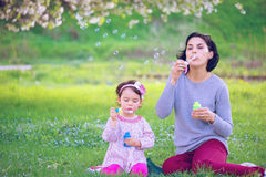Happy young mother and her daughter blowing soap bubbles Stock Image
