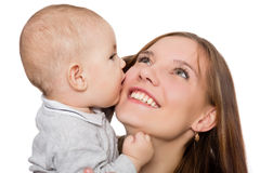 Happy young mother with her little baby boy Stock Photo