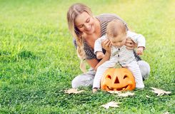 Happy mother with son celebrate Halloween Stock Photography