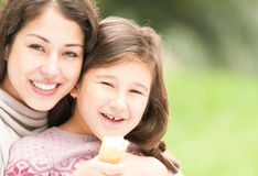 Happy young mother with her small daughter. Royalty Free Stock Photos