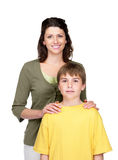 Happy young mother with her son against white Stock Photography