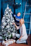 Mother and son at Christmas Stock Photos