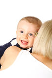 Happy mother holding adorable child baby boy Stock Image