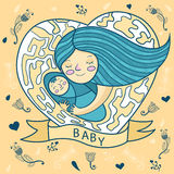 Happy young mother hugging baby. heart, floral background. Vector Royalty Free Stock Image