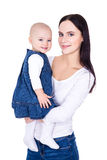 Happy young mother with little daughter isolated on white Royalty Free Stock Photos