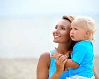 Happy young mother with little son. Stock Images