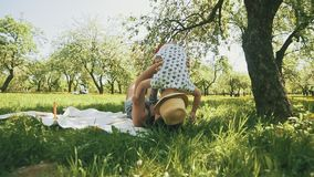 Happy young mother playing on blanket with her little son under tree at park. Concept of happy family love in slomo stock video footage