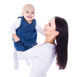 Happy young mother playing with little daughter isolated on whit Royalty Free Stock Images