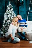 Mother and son with Christmas tree royalty free stock photo
