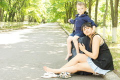 Happy young mother and son on vacation Royalty Free Stock Photos