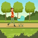 Happy young family spending time in city park. Happy young mother walking with baby stroller in city park. Parents with kids. Woman cartoon character with pram Royalty Free Stock Photography