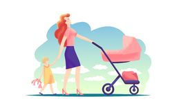 Happy young mother walking with baby stroller and holding hands with little girl. Modern flat illustration happy family stock illustration