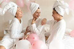 Free Happy Young Multiethnic Women Wearing Bathrobes Celebrating Bachelorette Party Indoors Royalty Free Stock Images - 193626119