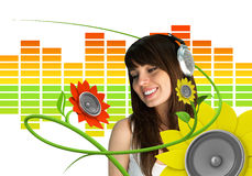 Happy young music fan Royalty Free Stock Photo