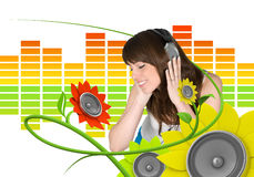 Happy young music fan Royalty Free Stock Photography
