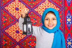 Happy Young Muslim girl celebrating Ramadan Stock Photography