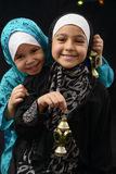 Happy Young Muslim Girls with Ramadan Lantern Stock Photos