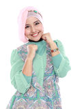 Happy young muslim woman in action Royalty Free Stock Image