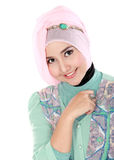 Happy young muslim woman in action Stock Image