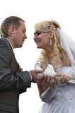 Happy young newlywed couple Stock Photos