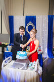 Happy young newlywed couple cutting wedding cake at banquet Stock Images