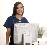 Happy young nurse doctor employee workstation Royalty Free Stock Images