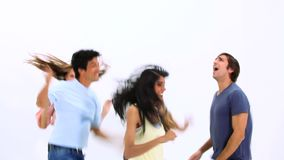 Happy young people dancing stock video