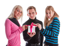 Happy young people with gift box Stock Photo