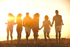 Happy Young People Group Have Fun On Beach Stock Image