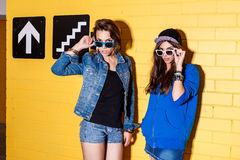 Happy young people having fun in front of yellow brick wall. Lifestyle portrait of two beautiful best friends hipster girls wearing stylish bright outfits, denim Royalty Free Stock Photos