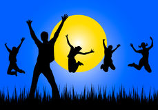 Happy young people jumping Royalty Free Stock Photos