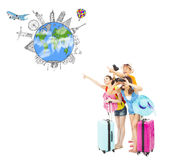 Happy young people looking for worldwide landmarks. Over white background Royalty Free Stock Photos
