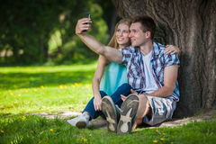 Happy young people outdoors royalty free stock photos