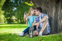Happy young people outdoors stock photography