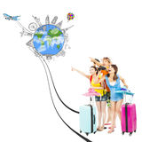 Happy young people point the worldwide landmark direction Stock Image