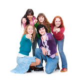 Happy young people pointing Royalty Free Stock Image