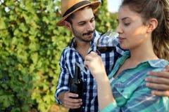 People tasting wine in vineyard Royalty Free Stock Photo