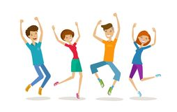 Happy young people, teenagers. Partying, cartoon vector illustration Stock Photo