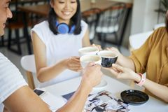 Friends toasting with cappuccino royalty free stock image