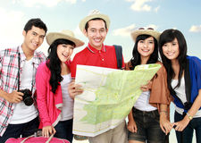 Happy young people tourists Royalty Free Stock Images